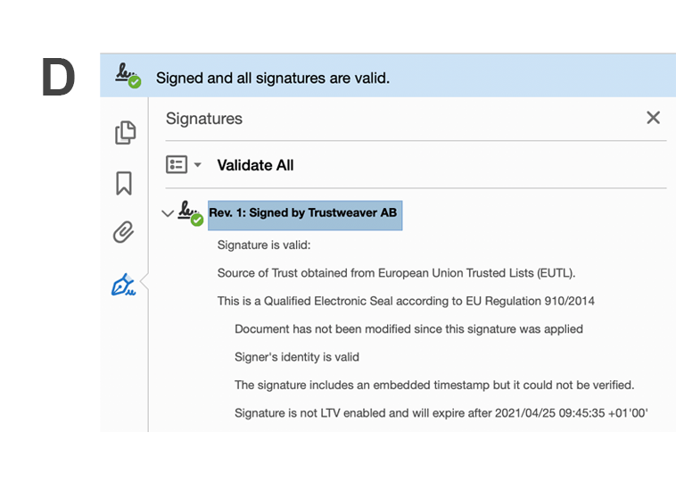 PDF signed in accordance with eIDAS