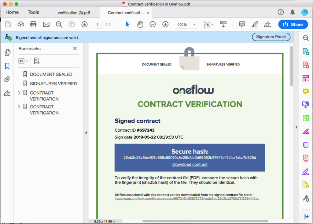 Oneflow contract platform showing Contract Verification of a signed contract. Signatures are advanced and legal. E-signatures but must adhere to certain EU standard.