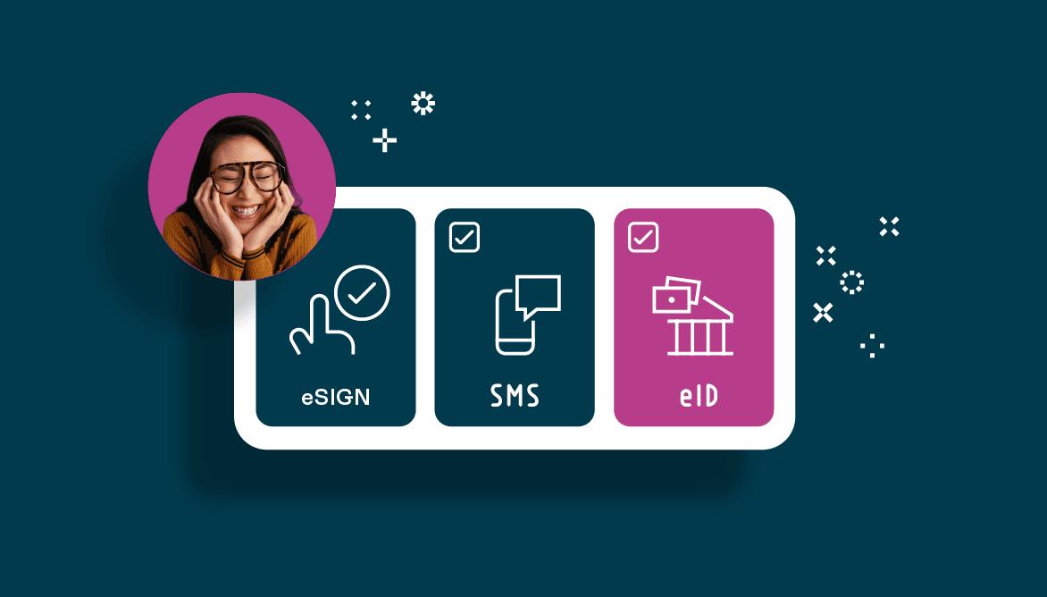 Med Oneflow kan du ta dig an avtalshantering genom eSign, SMS eller eID-signering. Bilden visar Oneflows olika signeringslösningar.