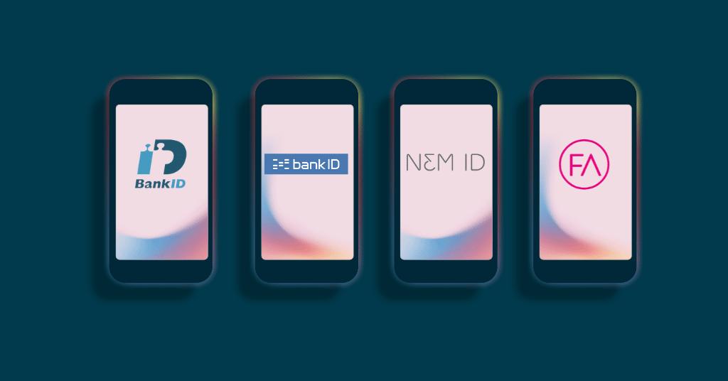 Signere dokumenter med bankid. Bildet viser mobiltelefoner og ikoner på svenske BankID, Norsk BankID, danske NemID og finske FTN (finsk tillitsnettverk),